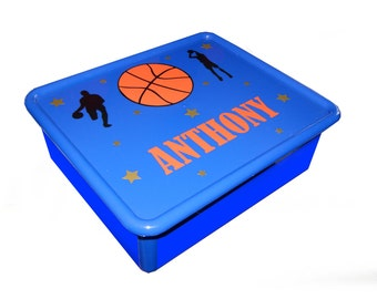Personalized Double Storage Bin - Basketball