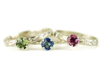 Sapphire Stacking Ring - Cushion Cut Sapphire Ring - 5mm Colored Sapphire Choice of Band