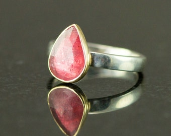Rose Cut Sapphire Ring - 14k Gold and Sterling Ring - Pear Cut Pink Sapphire Ring