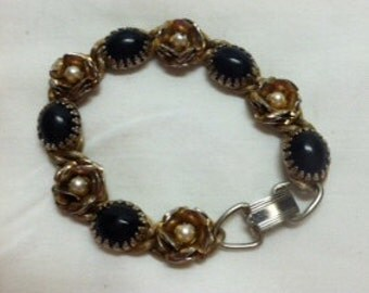 Vintage Faux Pearl and Black Onyx Bracelet in Gold-Tone