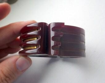 Vintage Bakelite Maroon Red Clamper Bracelet - AS IS.