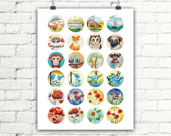 Owls Birds Animals Flowers Travel Digital Collage Sheet Instant Download Round Images Printables for Earrings Pendants 24 images 1.5x1.5