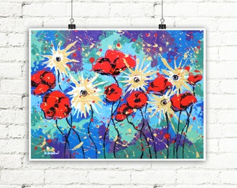 Summer Decor Flower Art Print, Flower Wall Art, Floral Print, Red Poppies Asters Flowers Wall Decor