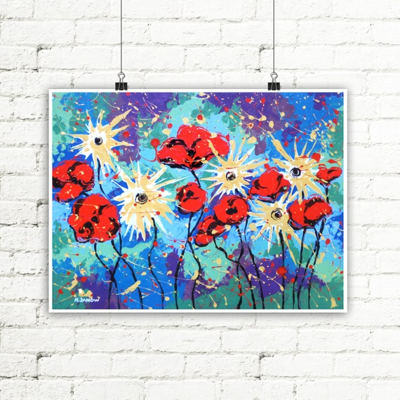 Summer Decor Flower Art Print, Flower Wall Art, Floral Print, Red Poppies Asters Flowers Wall Decor