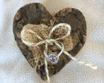 Chunky Wood Bark Heart Woodland Rustic Shabby Chic Wedding Ring Pillow Alternative