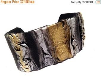50% OFF SALE Wide statement leather bracelet  Cuff bracelet Leather jewelry Wide fashion wristband leather jewelry