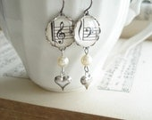 Harmony Music Earrings. Vintage Sheet Music Jewelry. Treble & Bass Clef, Antiqued Silver Hearts, Glass Pearls. Upcycled Eco Friendly Gift.