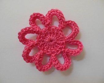 Crocheted Loopy Flower - Candy Pink - Cotton Applique - Cotton Embellishment
