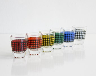 Mid Century Modern Houndstooth Shot Glasses from France / Colorful Vintage Shot Glass Set