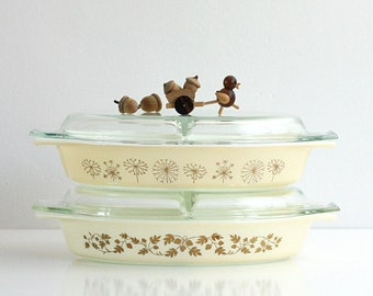 Vintage Mid Century Pyrex Golden Acorn Divided Casserole Dish