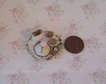 Dollhouse tray, hot chocolate tray, tea tray, macaroons, snack tray,  hand finished, twelfth scale, dollhouse decoration