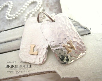 Dog Tag Style Necklace . Sterling Silver Hammered Tag . Personalized Jewelry . Proud Papa by Brag About It