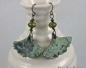 Ginkgo Leaf earrings with bronze verdigris | polymer clay and glass beads on black wire | botanical jewelry
