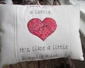 Heart Pillow, Wedding Gift, Anniversary Gift, Valentine Gift, Accent Pillow,  Appliqued Pillow, Free-Motion, Appliqued Heart Pillow