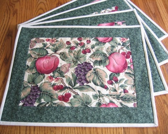 Quilted Placemats in an Apples and Fruit Pattern - Set of 4