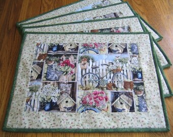 Quilted Placemats in Birdhouses, Flowers and Bicycles - Set of 4