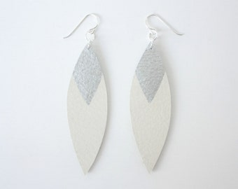 Painted Leather Leaf Earrings - White Leather and Silver with Sterling Silver