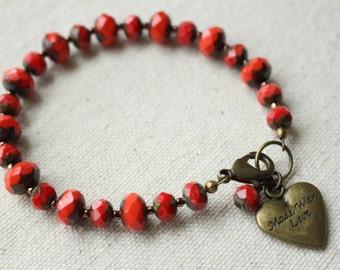 Coral Bracelet, Colorful Bohemian Style bracelet, Summer Colors, Heart charm, Stacking Bracelet