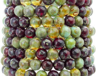 6mm Rainforest Picasso Mix Czech Glass Round Beads - Qty 25 (AW35)