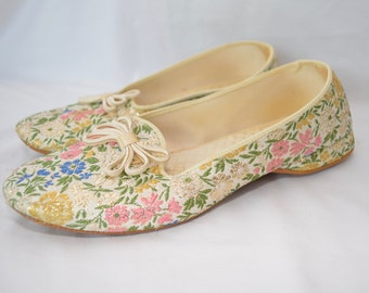 Vintage DANIEL GREEN ladies house slippers FANCY shiney 1960's small usa made