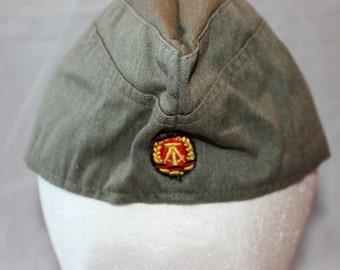Vintage East Germany Garrison Hat, Military Collectible, 1970's