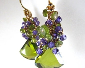 25% Off Summer Sale Olive Green Crystal, Vesuvianite and Purple Zirconia Gold Filled Cluster Earrings