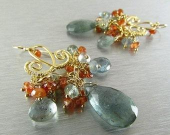 25% Off Summer Sale Moss Aquamarine and Sunstone Golden Chandelier Earrings