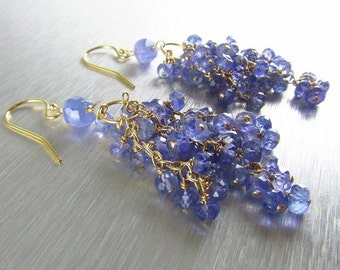 25% Off Summer Sale Tanzanite And Gold Filled Cluster Dangle Earrings, Waterfall Earrings