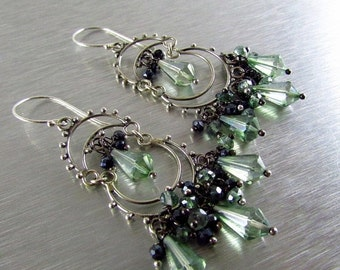 25% Off Summer Sale Mystic Green Quartz and Black Spinel Sterling Silver Artisan Chandelier Cluster Earrings