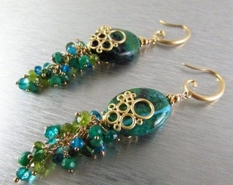 End Of Summer Sale Chrysocolla Cluster Earrings