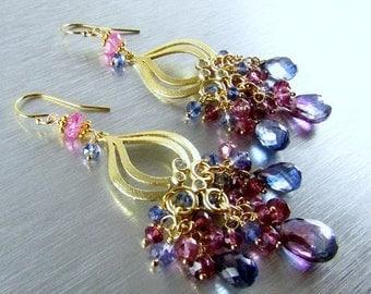 End Of Summer Sale Bi Color Quartz With Rhodolite Garnet and Pink and Blue Quartz Gold Cluster Chandelier Earrings
