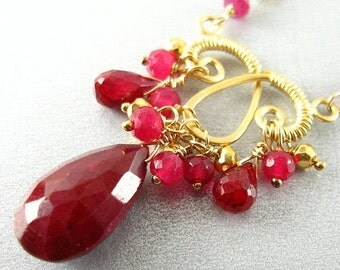 BIGGEST SALE EVER Ruby and Pyrite Gold Wire Wrapped  Necklace