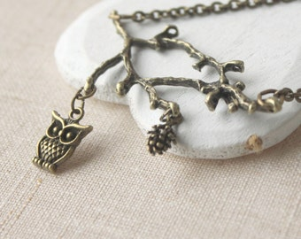 Owl Necklace Owl on a branch pendant owl jewelry antique brass owl and cone on a branch and owl necklace bird on a branch cone necklace N95
