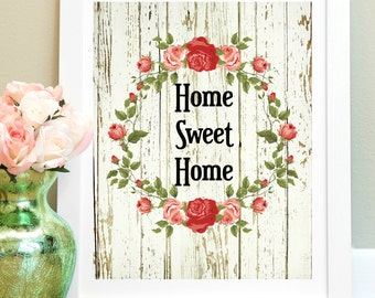 Home Sweet Home Quote Print, 8x10 Instant Download, Newlywed Gift, Wedding Gift, Wall Art Decor Poster, Rustic Home Printable, Wall Quote