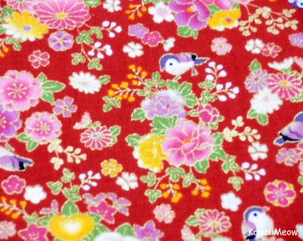 Beautiful Kimono Fabric - Chirp Chirp Sakura on Red - Fat Quarter (ta160528)
