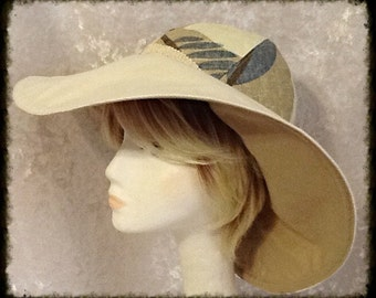 Wide Brimmed Reversible Sun Hat in Cream, Beige and Blue