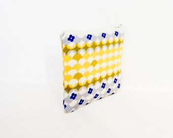 Small Fabric Pouch, Zipper Pouch, Fabric Pouch, Pouch, Geometric Pouch, Coin Purse, Change Pouch, Small Zipper Case, Trinket Cotton + Steel