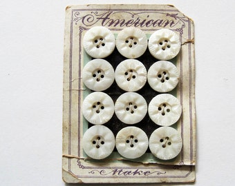 Vintage  White Glass  Buttons  Button Card