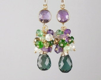 CUPID SALE Green Purple Cluster Earrings Wire Wrapped Petite Gold Fill Bezel Set Amethyst Connector Gift for Her