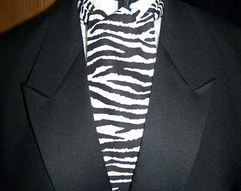 "Ascot or Carvat black and white Zebra Print cotton  fabric 4"" x 45"" Mens Historial Bow Tie"