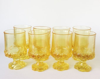 Set of 8 Vintage 1960s Tiffin Franciscan Yellow Cornsilk Juice Glasses, Retro Drinking Glasses