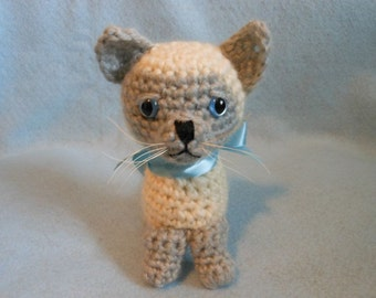 Siamese Crochet Cat, Amigurumi, Stuffed Animal, Feline, Stuffed Cat, Kitten, Kitty