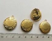 Round Locket shiny golden brass