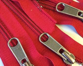 6 pcs. Red 5mm YKK Separating Zippers