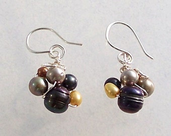 Silver, Peacock, Gold, and White Freshwater Pearl Wire Wrapped Bird's Nest Earrings