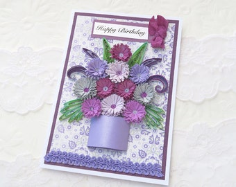 Birthday Card- Paper Quilling- Paper Quilled -Mom-Daughter-Graduation-Thinking of You- Purple Lavender Flowers - Handmade Australia