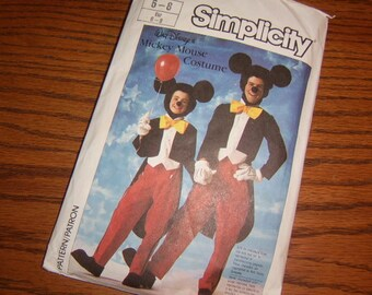 1986 Walt Disney Mickey Mouse Costume Pattern - Simplicity 7729
