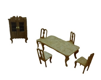 Clearance - 144th Inch Scale Country Farm or Victorian Style Dining Room Furniture Kit