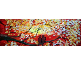 Original oil Painting Impasto Textured Birds Cherry Tree Red Sunset 36x12