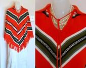 Vintage Red Fringe Poncho, Southwestern, Navajo, Boho Style, One Size OS